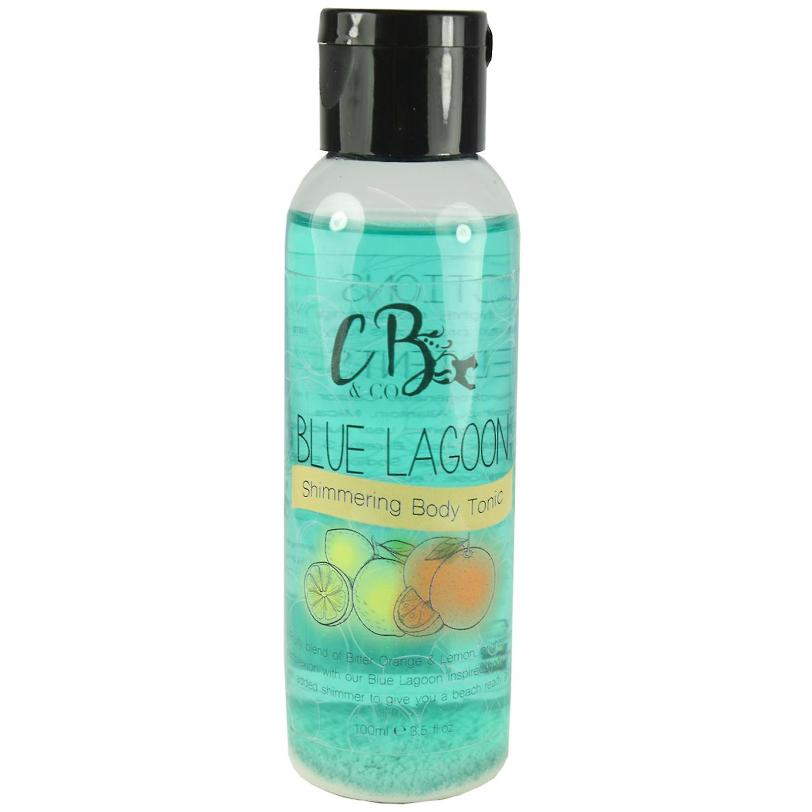 Bath & Body Gift Set Body Wash, Cream Lotion, Shimmer Oil Cocktail Blue Lagoon