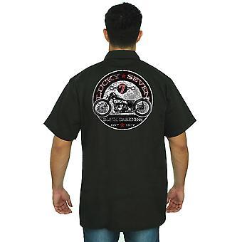 Camisa de trabajo mecánico de los hombres siete afortunado