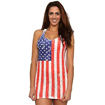 ST863-DSS - Shore Trendz Women's USA Distressed Flag Burnout Tank Dress
