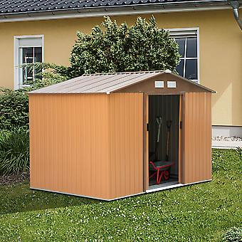 Outsunny 9x6ft Garden Shed Outdoor Foundation Storage Unit Metal Tool Box Khaki