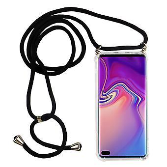 Catena di telefoni per Samsung Galaxy S10 Plus - Custodia collana smartphone con banda - cord con custodia per appendere in nero