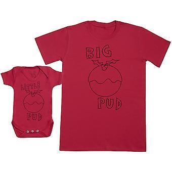 Kleine pud & grote pud bijpassende vader Baby Gift Set-mens T shirt & Baby Romper