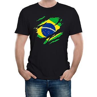 Realiteit glitch gescheurd Brazilië vlag mens t-shirt