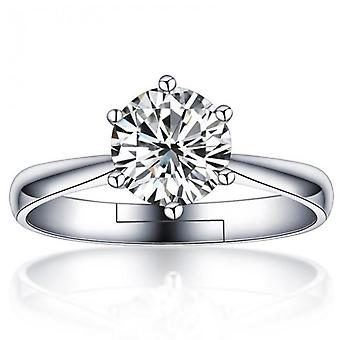 18k white-gold plated cera solitaire ring