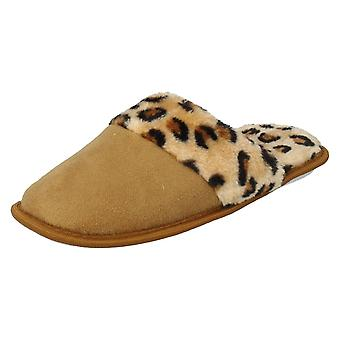 Ladies Spot On Micro Mules Slippers