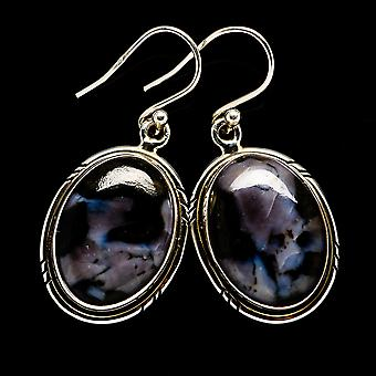 "Gabbro Earrings 1 3/8"" (925 Sterling Silver)  - Handmade Boho Vintage Jewelry EARR395018"