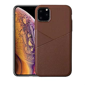 For iPhone 11 Pro Case, Soft TPU + PU Leather Back Cover, Brown