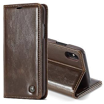 For iPhone XS Max Case Brown Business Wild Horse Texture PU Leather Folio Case