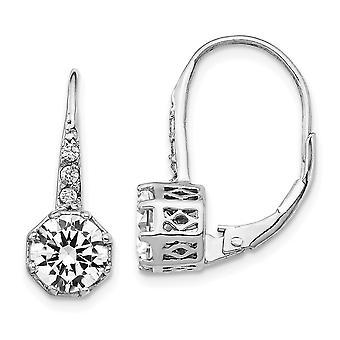 7.15mm Cheryl M 925 Sterling Sølv poleret CZ Cubic Zirconia simuleret Diamond Leverback Øreringe smykker Gaver til Wo