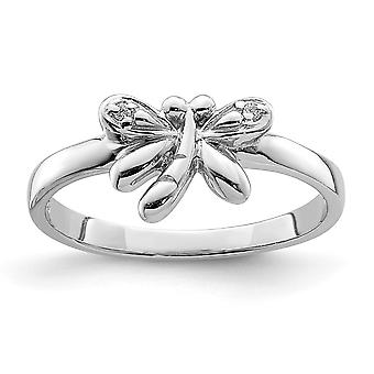 925 Sterling Silver Rhodium plated for boys or girls CZ Cubic Zirconia Simulated Diamond Dragonfly Ring - Ring Size: 3 t