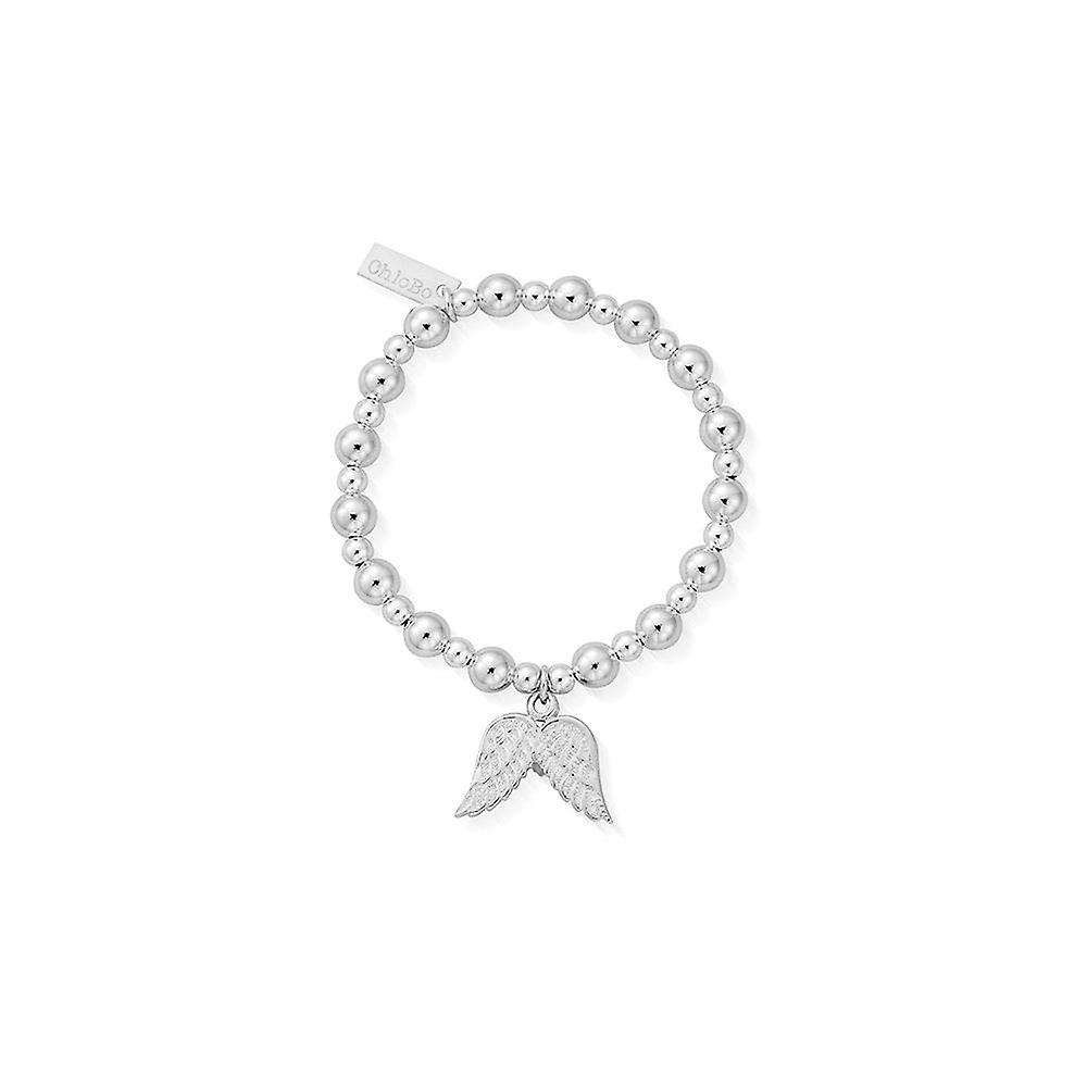 ChloBo Children's Silver Mini Small Ball Double Angel Wing Bracelet