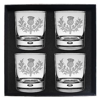 Art Pewter Scots Thistle Clan Crest Whisky Glass Set Of 4