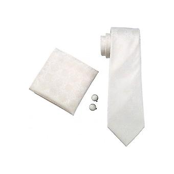 JSS White, Ivory & Gold Paisley Silk Wedding Tie, Pocket Square & Cufflink Set