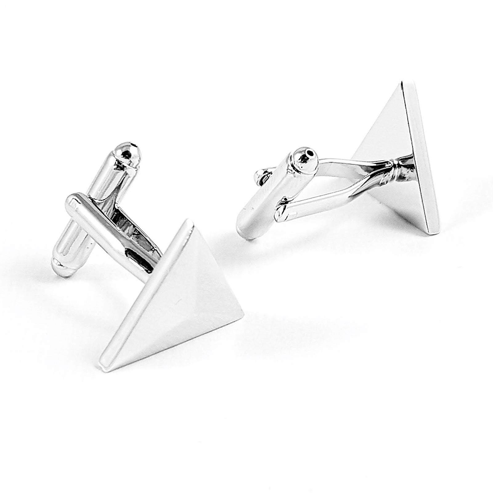 Triangle pyramid stainless steel wedding cuff links