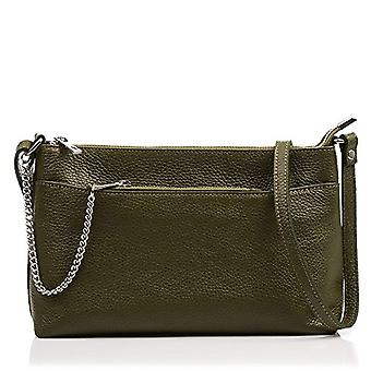FIRENZE ARTEGIANI Real Leather Women's Bag. Genuine leather bag Dollar. Soft touch. Women's shoulder bag Made in ITALY. REAL ITALIAN PELLE 28x18x8 cm. Color: GREEN OLIVE DARK