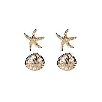 Textured Starfish and Shell Stud Earrings
