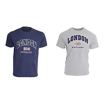 Mens London England Print 100% Cotton Short Sleeve Casual T-Shirt/Top