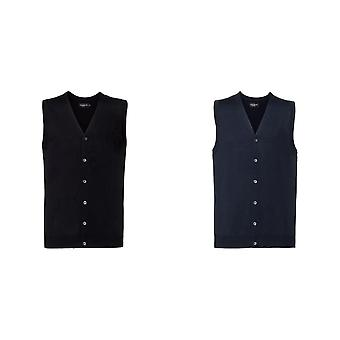 Russell Mens mouwloos katoenen acryl V hals vest