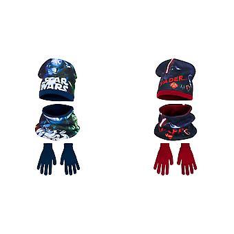 Star Wars Childrens Boys Winter Hat, Snood And Gloves Set