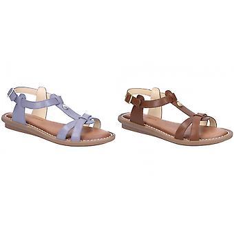 Hush Cachorros Mujeres/Señoras T-strap correa de cuero hebilla sandalia
