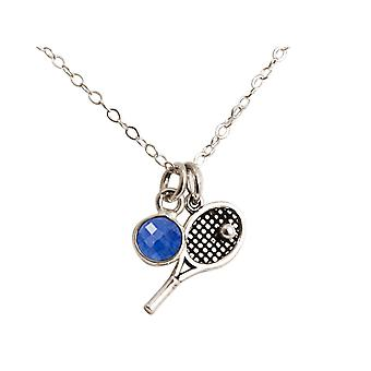 Gemshine tennis racket with ball and sapphire 925 silver, gold plated or rose
