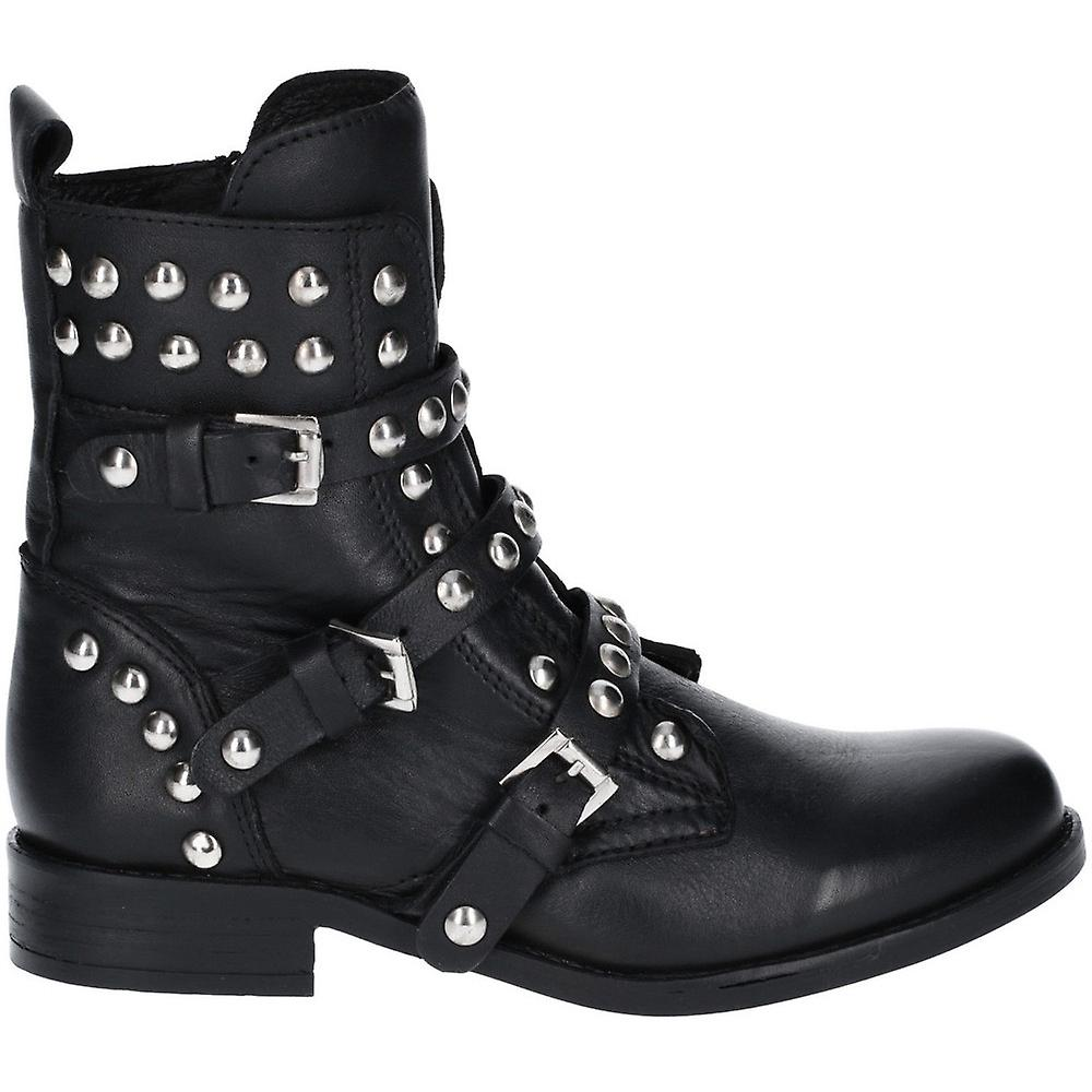 Steve Madden Womens Spunky Leather Stud Buckle Biker Boots