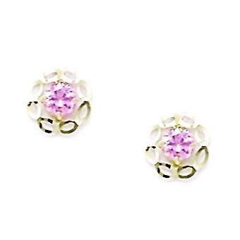 14k Yellow Gold Pink CZ Cubic Zirconia Gesimuleerde Diamond Small Flower Screw terug Oorbellen maatregelen 7x7mm sieraden geschenken f
