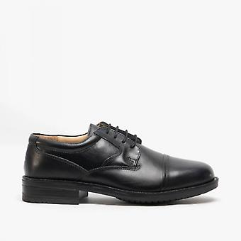 Roamers Barrett Mens Couro Full Fit Capped Brogue Sapatos Preto