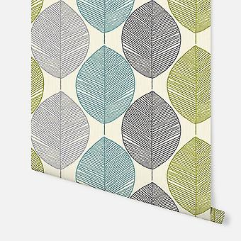 408207 - Retro Leaf Teal & Green - Arthouse Wallpaper