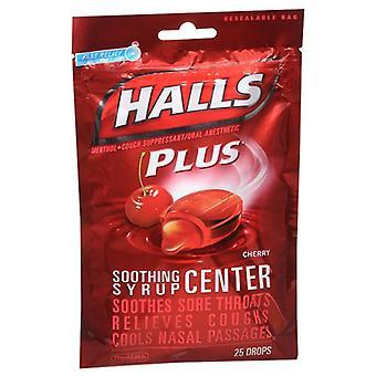 Halls cough drops + medicine center lozenges, cherry, 25 ea