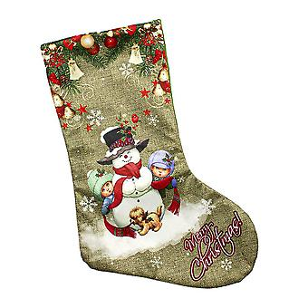 Patterned Christmas Stocking-snowman