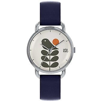 Orla Kiely oiseau Print | Affaire d'argent | Sangle bleu marine OK2237 Watch