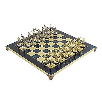 Blue Poseidon Greek Metal Chess Set