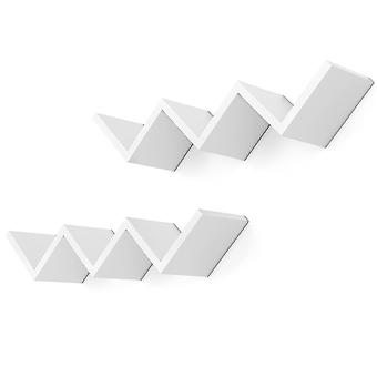 Płyty ścienne zygzakowate - zestaw 2 - biały