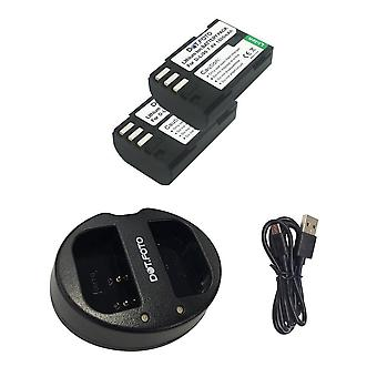 Dot.Foto D-LI90 Replacement Battery (2-pack) & Fast Dual USB Charger for Pentax [See Description for Compatibility]