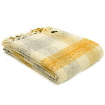 Tweedmill Pure New Wool Meadow Check Yellow Throw