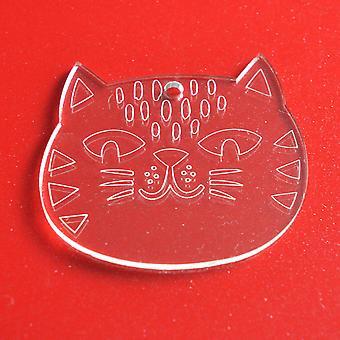 6PKかわいいアミマル猫クリアアクリルクリスマスの装飾