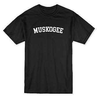 マスコギーにある都市を示す誇りメンズ黒 t シャツ