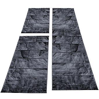 Carpet bed border runner set piedra óptica 3 partes Negro Gris Mottled