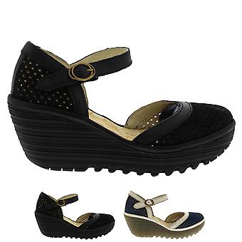 Womens Fly London Yupi Leather Summer Cut Out Wedge Heel Buckle Shoes