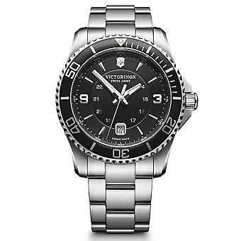 Victorinox Swiss Army Maverick Black Dial Silver Stainless Steel Bracelet Men's Watch 241697
