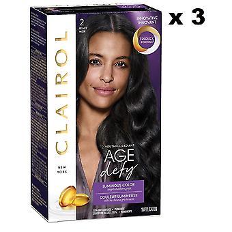 3 x Clairol Nice -apos;n Easy Age Defy Permanent Hair Colour (2 Noir)