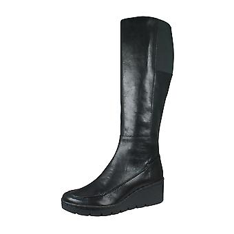Geox D Wiva Wedge E Womens Leather Knee High Boots - Black