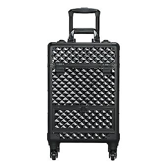 Cosmetic Case Lockable Makeup Case Storage Organiser Large Space Travelling Trolley Box with 4 Retractable Trays,Black