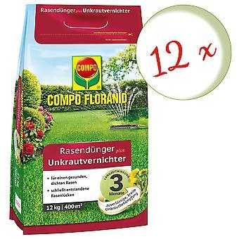 Escasa: 12 x COMPO Floranid® fertilizante de césped más hierba, 12 kg
