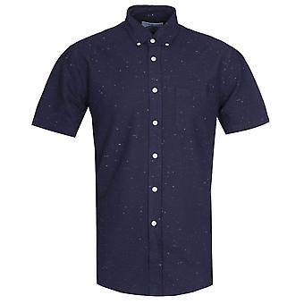 Portuguese Flannel Dot Blue Navy Short Sleeve Shirt