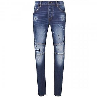 Glorious Gangsta Halton Skinny Stretch Denim Mid Blue Biker Jeans