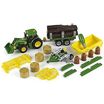 Theo Klein John Deere 4 in 1 Tractor with Tipping Dumper, Transporter, Wood and