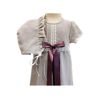 Christening Gown And Bonnet I Natural Linen Material. Free Choice Of Baptism Bow