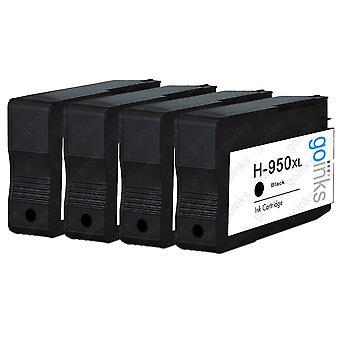 4 Cartouches d'encre d'imprimante HP 950Bk compatibles noir (HP950XL)